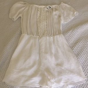 Lace front White Romper